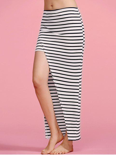 best Striped High Waisted Irregular Hem Skirt - STRIPE M Mobile