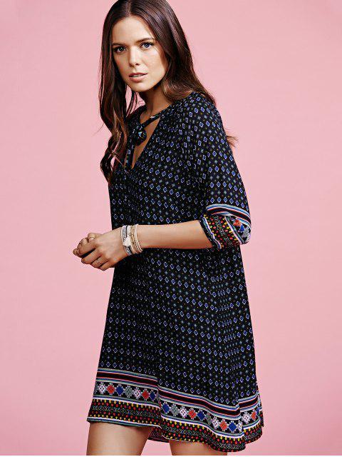 online Ethnic Pattern V-Neck Half Sleeve Dress - BLACK L Mobile