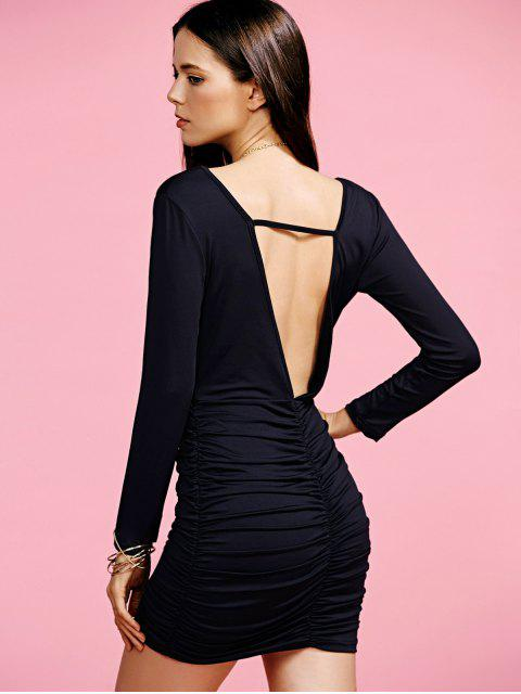 ladies Plunging Neck Ruched Long Sleeve Party Dress - BLACK M Mobile