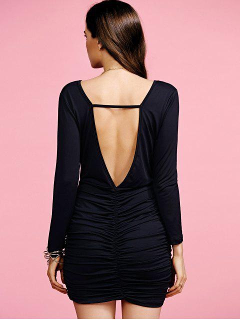 lady Plunging Neck Ruched Long Sleeve Party Dress - BLACK S Mobile