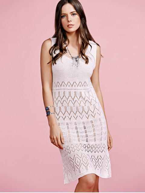 trendy Solid Color Cut Out Round Neck Sleeveless Crochet Dress - OFF-WHITE ONE SIZE(FIT SIZE XS TO M) Mobile