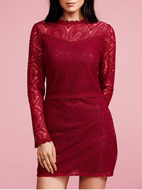 online Ruffles Long Sleeve Lace Dress - WINE RED L Mobile
