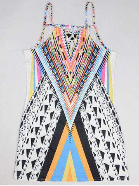 women Geometric Print Camisole Dress - COLORMIX M Mobile