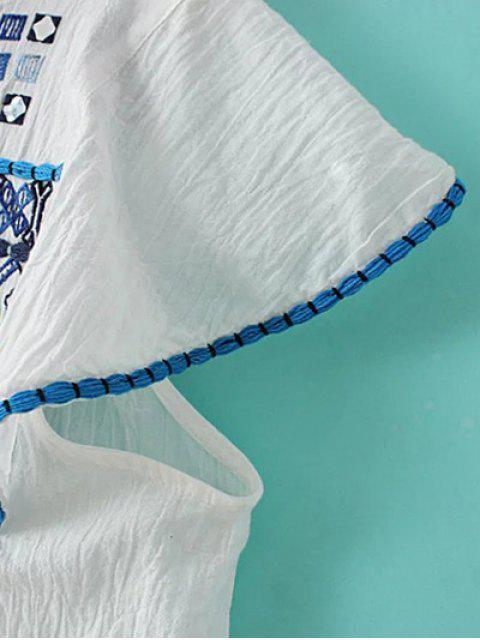 best Embroidery White T-Shirt - BLUE AND WHITE S Mobile