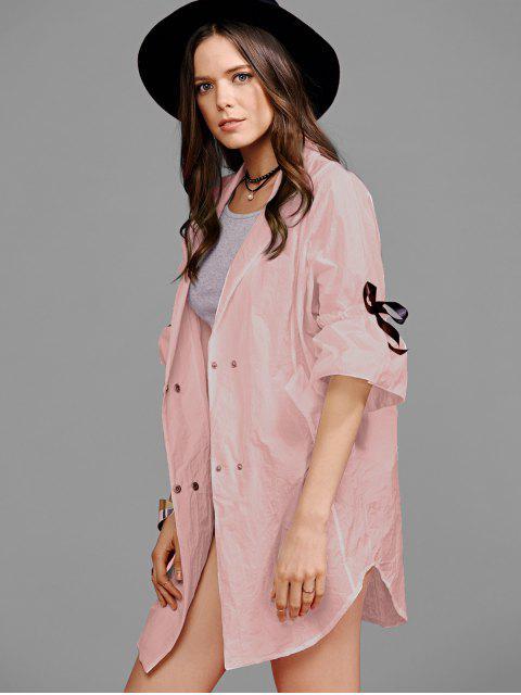women Ruffle Sleeve Trench Coat - PINK M Mobile