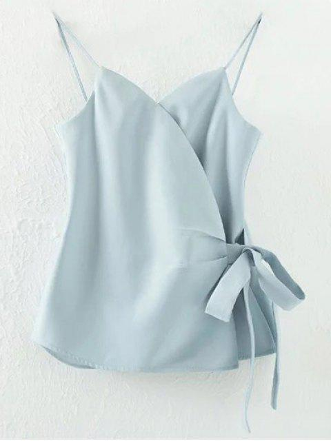 Solid Color Wrap Cami Top - Bleu clair L Mobile