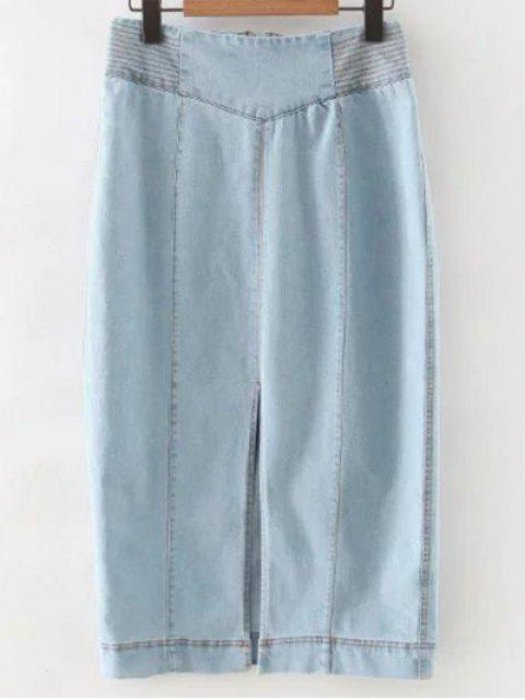 womens Front Slit High Waisted Denim Skirt - LIGHT BLUE M Mobile