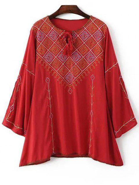 Bordado cuello redondo de manga larga blusa - Rojo M Mobile