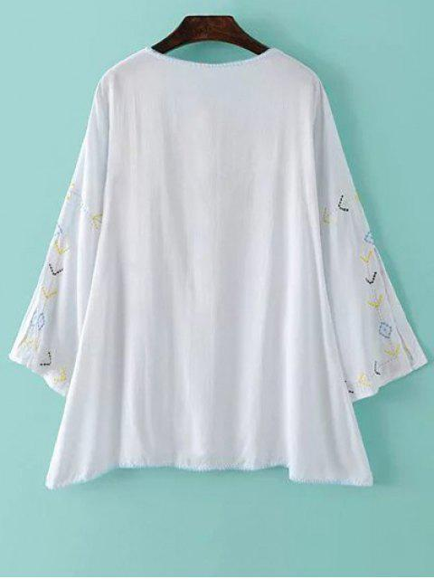online Embroidery Round Neck Long Sleeve Blouse - WHITE M Mobile
