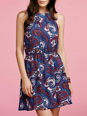 Paisley Print Chiffon Dress - Blue Xl