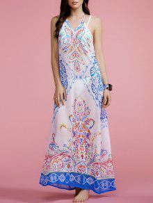 Print Halter Cut Out Maxi Dress - White M