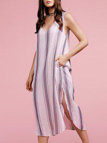 Plunging Neck Sleeveless High Slit Striped Dress - Gray S