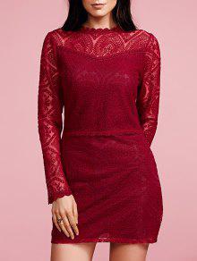 فستان المخرمات بحاشية ورق اللوتس والكمين الطويلين - نبيذ أحمر M