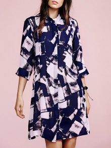 Checked Print Stand Neck 3/4 Sleeve Shirt Dress - PURPLISH BLUE S