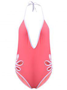 Backless Hollow Out Halter One-Piece Swimwear - Light Pink L