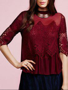 Lace Voile Spliced Stand Neck Blouse - Wine Red M