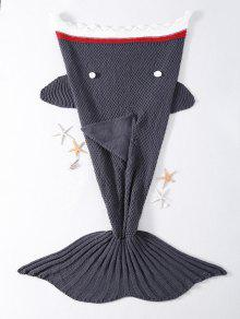 أزياء مريحة الكروشيه محبوك القرش تصميم البطانيات - رمادي