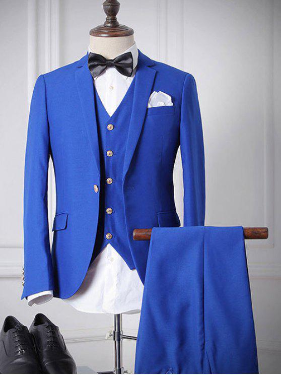 Revers Einreiher Langarm dreiteiligen Anzug (Blazer + Weste + Hosen) für Männer - Blau L