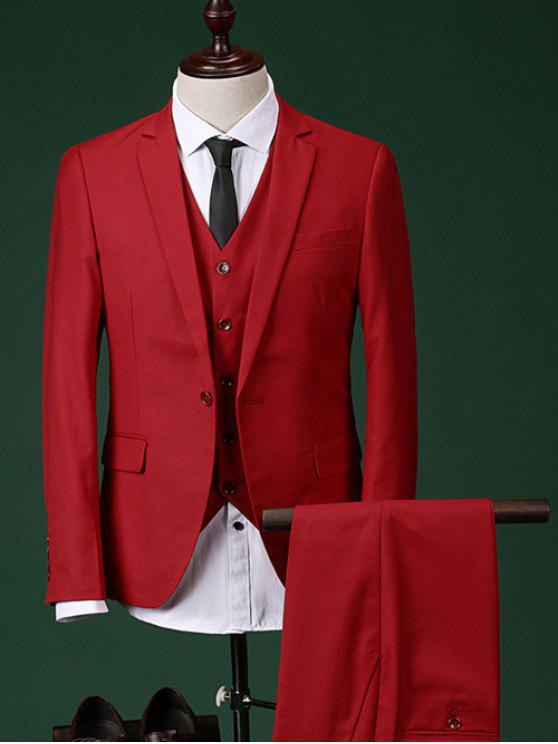 Abnehmen Revers Einreiher Langarm dreiteiligen Anzug (Blazer + Weste + Hosen) für Männer - Rot L