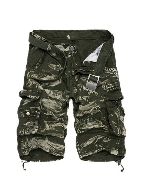 sale Zipper Fly Camouflage Cotton Blends Multi-Pockets Straight Leg Cargo Shorts For Men - GREEN 36