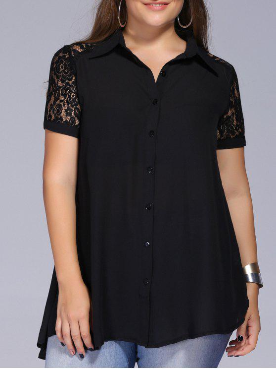 Plus Size Lace Splicing boutonné Shirt - Noir 3XL