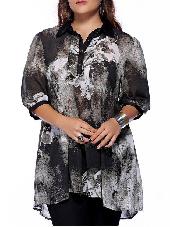 Chic Plus Size Shirt col boutonné imprimé femmes s 'Blouse - Noir XL