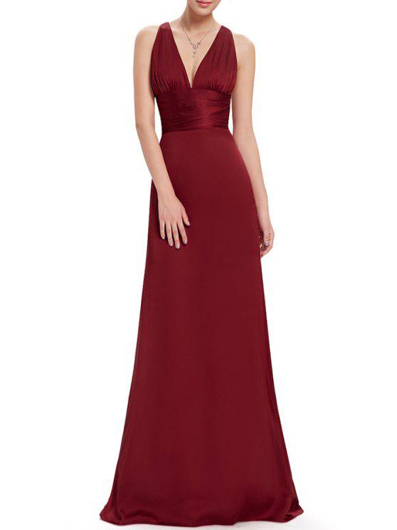 2018 Plunging Neck A Line Maxi Evening Ball Gown Dress In WINE RED ...