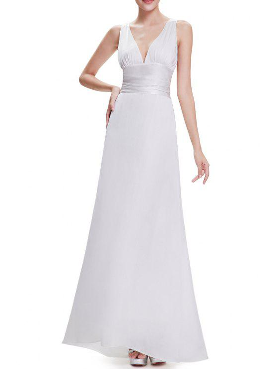 2018 Plunging Neck A Line Maxi Evening Ball Gown Dress In WHITE S ...