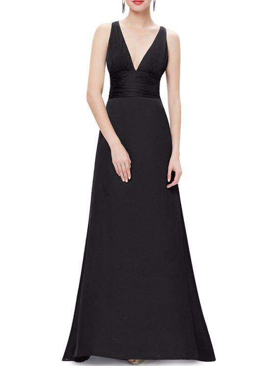 Plunging Neck A Line Maxi Evening Ball Gown Dress BLACK: Maxi ...