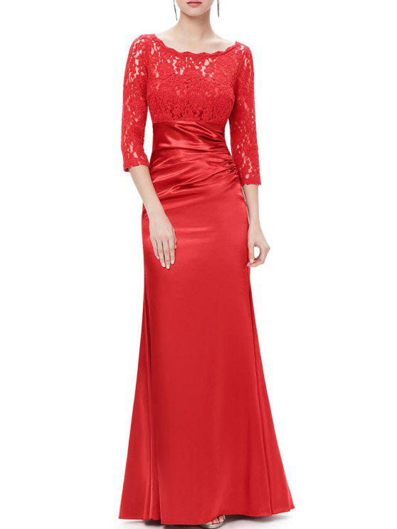 e1f095aa66 27% OFF  2019 Lace Splicing Maxi Evening Gown Prom Dress In RED XL ...