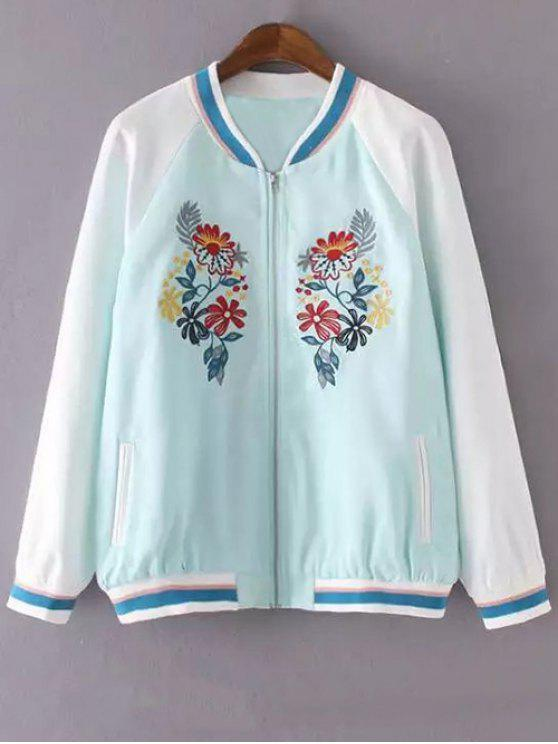 shop Floral Embroidery Stand Neck Jacket - LAKE BLUE M