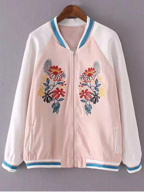 latest Floral Embroidery Stand Neck Jacket - PINK L