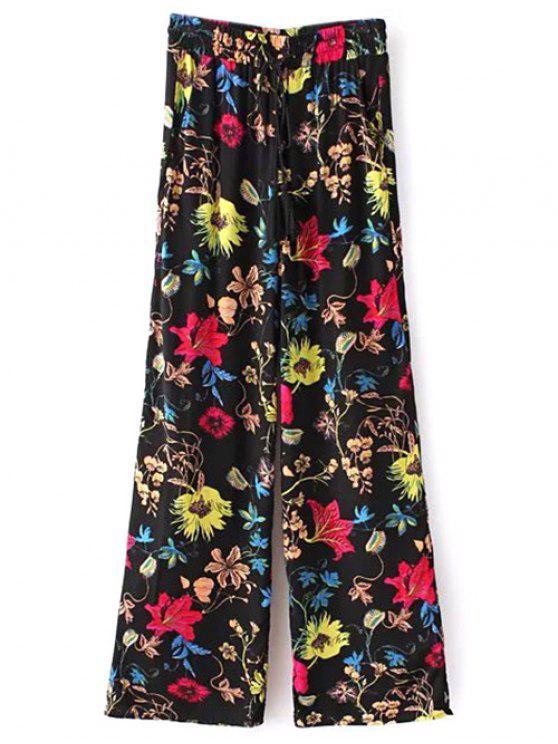 Cordón de ajuste de la impresión floral Palazzo Pantalones - Negro L