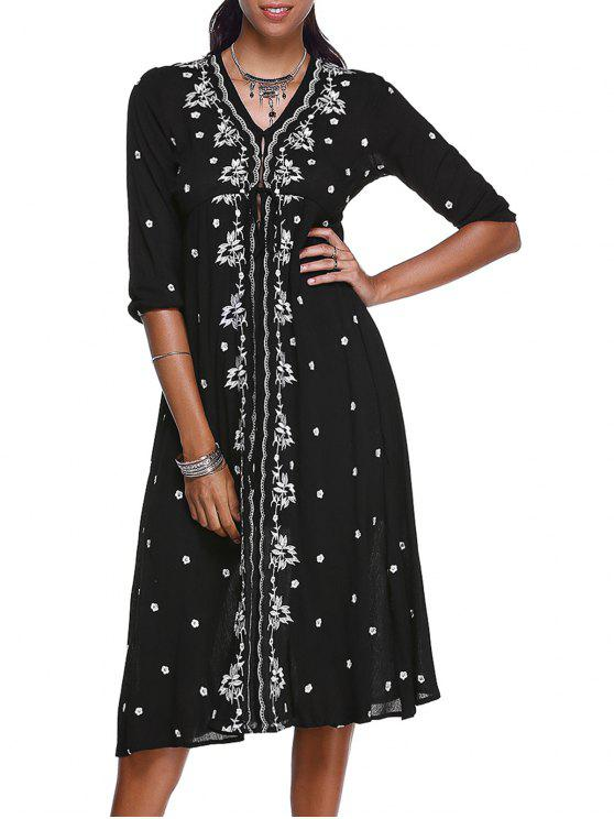 best Floral Embroidery V-Neck 3/4 Sleeve Midi Dress - BLACK S