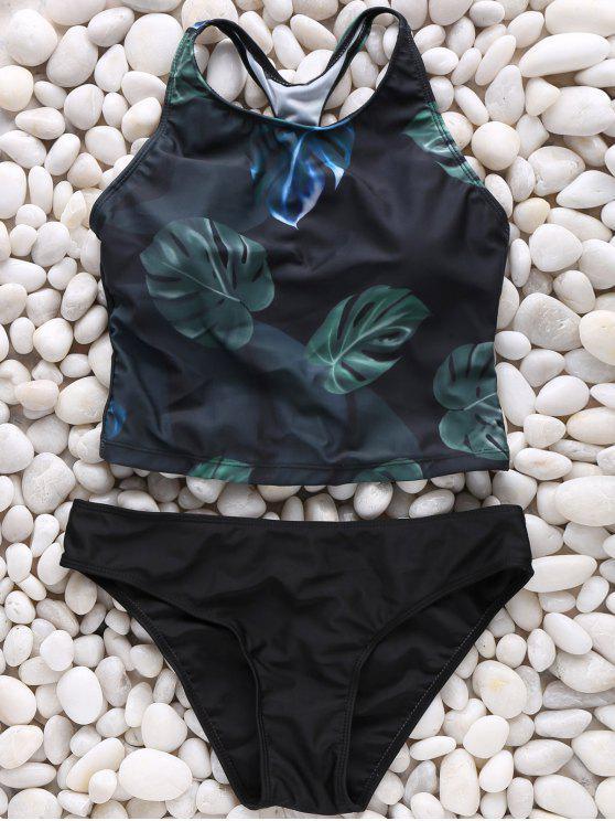 outfits Leaf Print High Neck Bikini Set - COLORMIX XL