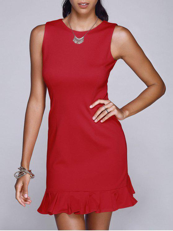 women's Red Round Neck Sleeveless Mermaid Dress - RED S