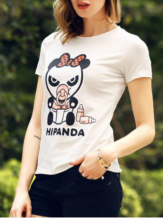 Cartoon Panda modello manica corta T-Shirt - Bianca S