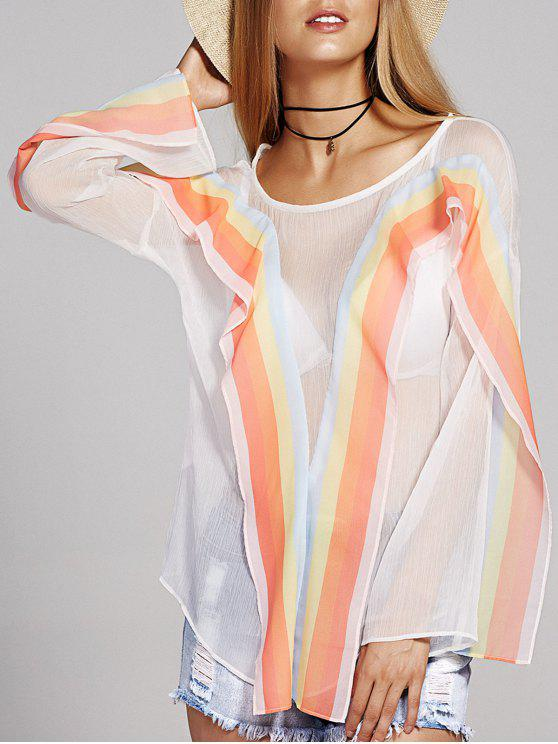 trendy Round Neck Long Sleeve Striped Chiffon Blouse - WHITE M