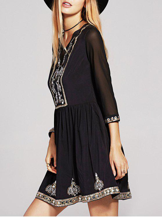 latest Beaded 3/4 Sleeve Sequins Embroidery Dress - BLACK M
