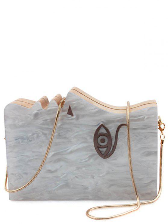 Fashion Acrylic Wooden Snake Chain Evening Bag Light Gray