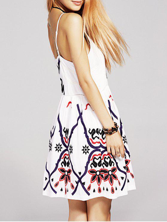 fashion Waisted Embroidery Cami Dress - WHITE XL