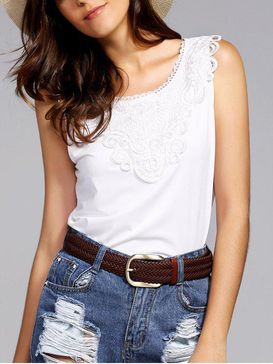 sale Lace Spliced Round Neck Tank Top - WHITE L