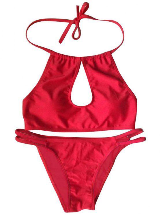 Recorte cabestro conjunto bikini rojo - Rojo L