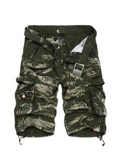 Zipper Fly Camouflage Cotton Blends Multi-Pockets Straight Leg Cargo Shorts For Men - Green 36