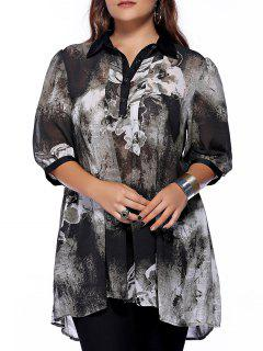Plus Size Brief Ink Painting Buttoned Blouse - Black Xl