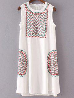 Retro Embroidery Sleeveless Round Neck Dress - White S