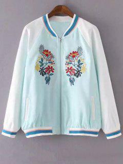 Floral Embroidery Stand Neck Jacket - Lake Blue M