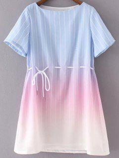 Ombre Round Neck Short Sleeve Striped Dress - Light Blue S