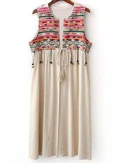 Retro Embroidery Round Neck Waistcoat - Apricot S