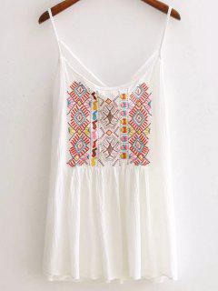 Ethnic Embroidery Cami Backless Tank Top - White S